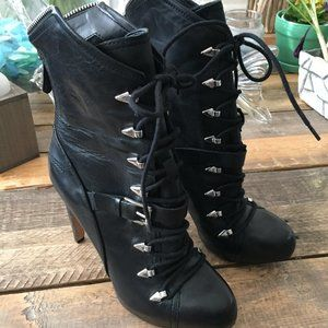 Sam Edelman Black Leather Knox Steampunk Boots 6.5